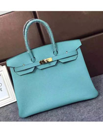 Hermes original togo leather birkin 30 bag H30-1 lake blue