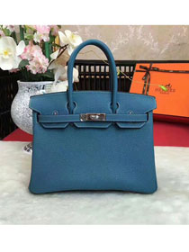 Hermes original togo leather birkin 30 bag H30-1 ocean blue