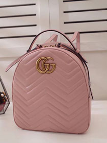2017 GG Marmont original quilted leather backpack 476671 pink