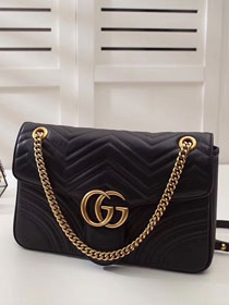 GG Marmont matelasse original leather medium shoulder bag 443496 black