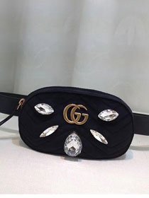 2018 GG Marmont matelasse leather belt bag 476434 black