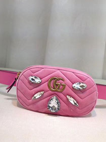 2018 GG Marmont matelasse leather belt bag 476434 pink