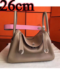 Hermes original top togo leather small lindy 26 bag H26 apricot&pink