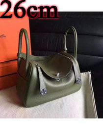 Hermes original top togo leather small lindy 26 bag H26 blackish green