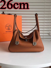 Hermes original top togo leather small lindy 26 bag H26 brown