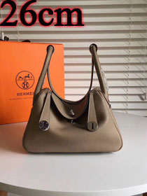 Hermes original top togo leather small lindy 26 bag H26 gray