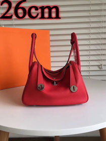 Hermes original top togo leather small lindy 26 bag H26 red