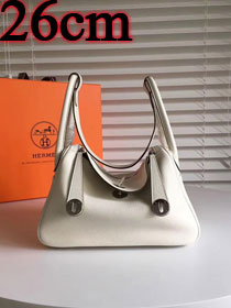 Hermes original top togo leather small lindy 26 bag H26 white