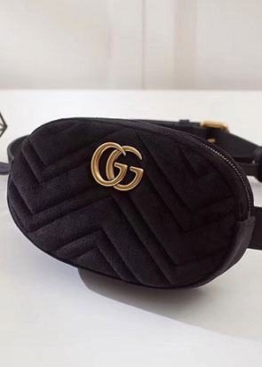2018 GG marmont original velvet small belt bag 476434 black