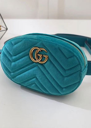 2018 GG marmont original velvet small belt bag 476434 lake blue