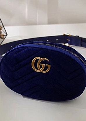 2018 GG marmont original velvet small belt bag 476434 blue