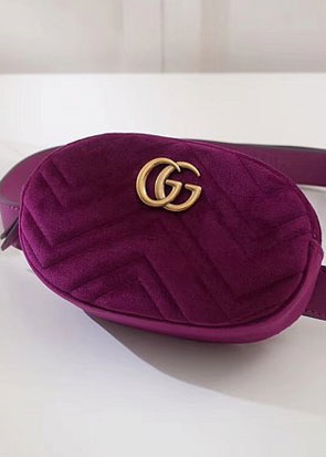2018 GG marmont original velvet small belt bag 476434 purple
