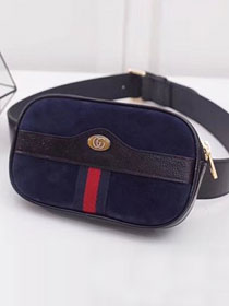 2018 GG original suede leather Ophidia Supreme belted iPhone case 519308 navy blue