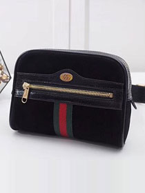 2018 GG original suede leather ophidia supreme small belt bag 517076 black