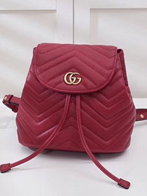 2018 GG marmont original matelasse leather backpack 528129 red