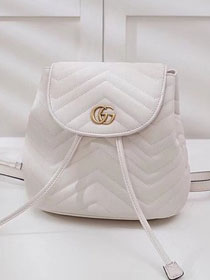 2018 GG marmont original matelasse leather backpack 528129 white