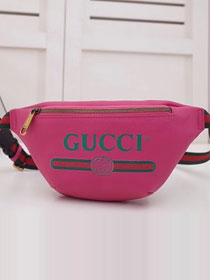 2018 GG original calfskin print small belt bag 527792 rose red