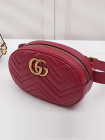 2018 GG Marmont matelasse leather large belt bag 491294 red