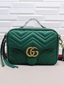 2018 GG Marmont original calfskin small shoulder bag 498100 green