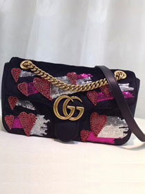 2018 GG original velvet marmont small shoulder bag 443497 black