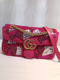 2018 GG original velvet marmont small shoulder bag 443497 rose red
