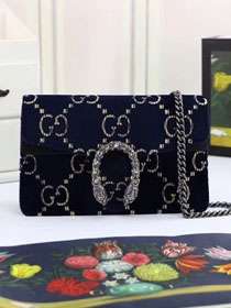GG original velvet dionysus mini shoulder bag 476432 navy blue