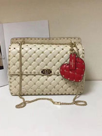 Valentino original lambskin rockstud large chain bag 0121 white
