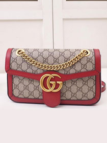 2019 GG original canvas small marmont bag 443497 red