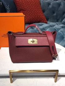 2019 Hermes original togo leather small kelly 2424 bag H03698 bordeaux