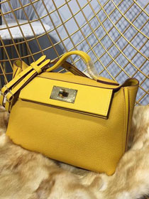 2019 Hermes original togo leather kelly 2424 bag H03699 yellow