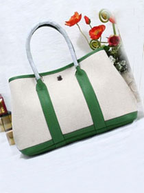 Hermes original canvas large garden party 36 bag G36 white&green