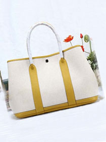 Hermes original canvas large garden party 36 bag G36 white&yellow