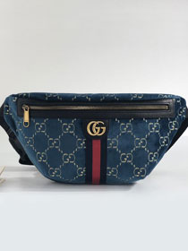 GG original velvet belt bag 574968 navy blue