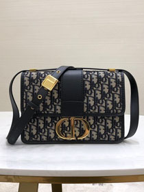Dior original canvas 30 montaigne flap bag M9203 navy blue
