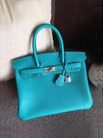 Hermes original togo leather birkin 30 bag H30-1 bright blue