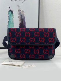 2020 GG original wool belt bag 598181 navy blue&red