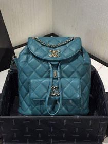 2020 CC original grained calfskin backpack AS1371 turquoise