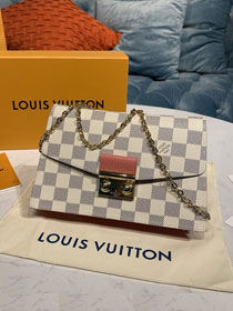 Louis vuitton original damier azur croisette chain wallet N60358 pink