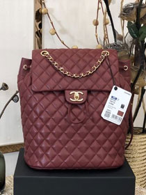 CC original lambskin large backpack A91122 wine red