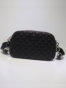 GG calfskin small shoulder bag 574886 black