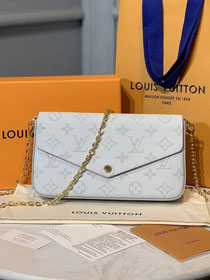 Louis vuitton original monogram canvas pochette felicie M61276 white