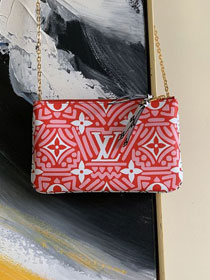 Louis vuitton monogram crafty double zip pochette M69507 red