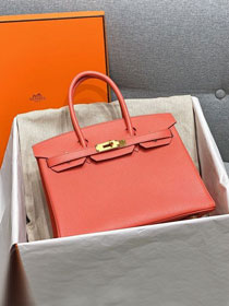 Hermes original epsom leather birkin 30 bag H30-3 coral pink