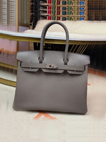 Hermes original epsom leather birkin 30 bag H30-3 gris etain