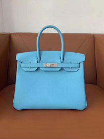 Hermes original togo leather birkin 30 bag H30-1 celeste