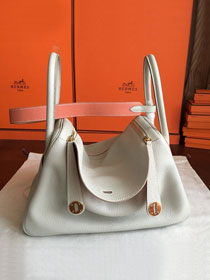Hermes original top togo leather small lindy 26 bag H26 pearlash