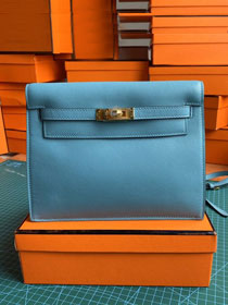 Hermes original evercolor leather kelly danse bag KD022 celeste