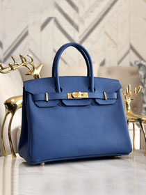 Hermes original epsom leather birkin 30 bag H30-3 agate blue