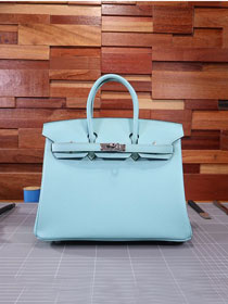 Hermes original epsom leather birkin 30 bag H30-3 blue atoll
