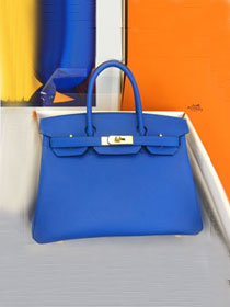 Hermes original epsom leather birkin 30 bag H30-3 blue hydra
